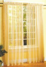 2 Pieces Sheer Voile Window Curtain Panel Set Gold