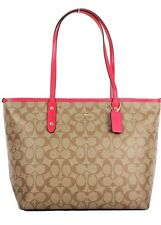NWT COACH REVERSIBLE CITY TOTE & ZIPPERED POUCH KHAKI & TRUE RED $350