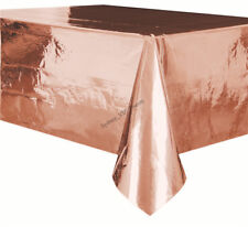 Metallic Rose Gold Plastic Rectangle Tablecover - 137cm X 274cm Birthday Party D