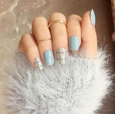 NEW 24pcs Blue Checks 3D Fashion DIY Art Girls Short False Fake Nails Glue N3060