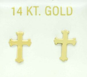 CROSS EARRINGS 14K YELLOW GOLD *** New With Tag ***