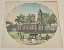Antique John G Fay Watercolor Painting Of St. Paul's Church East Chester NY 1867