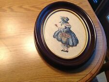 Antique Vintage Victorian Petit Point Needlepoint Lady/Girl Framed Gorgeous! #2