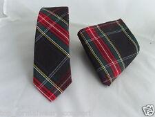 """(G) Tartan black/red/green Para Hombre Skinny Corbata Y Pañuelo set-tie-2.5 """" = 6 Cm De Ancho"""