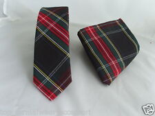 "( G ) TARTAN Black/Red/Green Mens Skinny Necktie & Hankie Set-Tie-2.5""=6cm Width"