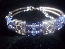 Hot Fashion Jewelry Tibetan Silver Purple Crystal Bead Bracelet B-74
