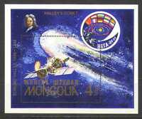 Mongolia 1986 Halley's Comet/SPACE/FLAGS m/s n11615