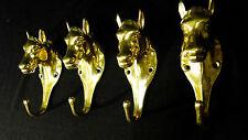4x Pared Ganchos Para Ropa Latón Cabeza De Caballo Oro Antiguo Grande