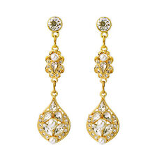 Boucles d`Oreilles CLIP ON Doré Long Art Deco Cristal Perle Retro Mariage B14
