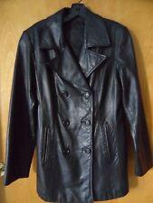 Jacqueline Ferrar Black Leather Double Breasted Jacket Sz S