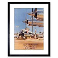 Ad Transport Plane Vintage Vickers Vanguard Jets Framed Art Print 9x7 Inch