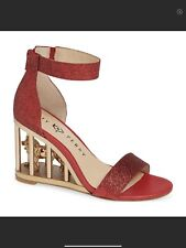 Katy Perry Leon Caged Wedge Sandals Size 5 Red NIB