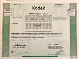 Kodak > Eastman Kodak Company camera film stock certificate