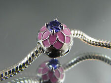PINK ENAMEL & INLAID CRYSTAL STOPPER BEAD FOR EURO STYLE CHARM BRACELET (SB 029)