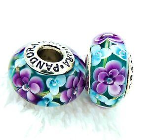 2 PANDORA Silver 925 ALE Murano Charm Purple Blue Flower Blossom Beads #191A