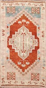 Vintage Tribal Geometric Authentic Oushak Turkish Area Rug Hand-knotted Wool 2x3