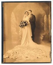 Vintage 8x10 Photo Beautiful Bride Groom Wedding Portrait Antique Aug17 b