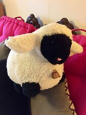 """Adorable Happy Mates Stuffed Lamb/Brass Bell/15""""/Wooly/Soft/Cuddly/Pink Nose!"""