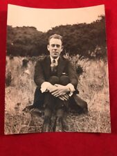 Antique Black & White Photo Rockabilly Man In A Suit Sitting In A Field