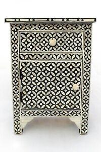Abacus & Hunt Bone Inlay Bedside Table in Black Geometric