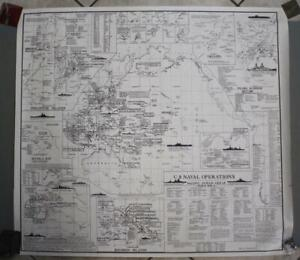 US NAVY II WORLD WAR NAVAL OPERATIONS 1966 US NAVY LARGE VINTAGE LITHOGRAPHICMAP
