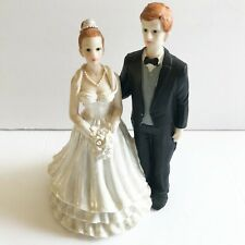 Bride and Groom Vintage Red Head Ceramic Wedding Cake Topper Figurines