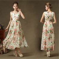 Women lady Butterfly Flower Printed V Long Sundress evening Cocktail party dress