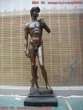 Western Pure Bronze Marble statue nude male David man Art sculpture