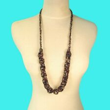 "32"" Purple Chain Link Handmade Seed Bead Boho Style Non Metal Necklace"