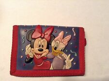 Walt Disney World Mini Mouse / Daisy Duck Tri Fold , Velcro, Zipped Wallet