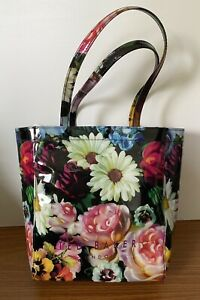 Ted Baker Shopping Tote Bag. Floral. PVC. Designer. Inner Zip Pocket. Icon.