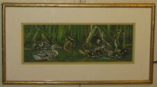 Vintage JANET PIDOUX 'Sheltering in the Reeds' DUCK & DUCKLINGS Pastel Painting