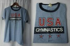"Vintage Usa GymnastiCs T ShiRt ""Go For It!"" Heather Blue Ringer Olympics 1984/80"