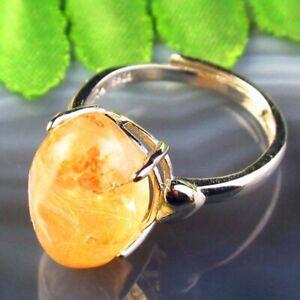 Copper Wrap Natural Gold Rutilated Quartz Oval AdjustablePendant Ring B50720