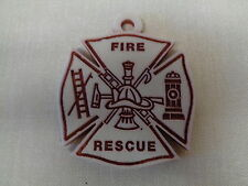 FIREFIGHTER CHRISTMAS ORNAMENTS, HEAVY MARBLE, SERIAL #, MADE IN AMERICA, NEW
