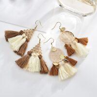 Fashion Jewelry Women Bohemian Long Fringe Tassel Ear  Boho Dangle Stud Earrings