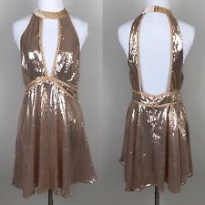 New Free People Film Noir Sequin Mini Dress 8 Rose Gold Halter Party Plunge NWT