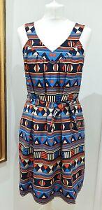 Marc by Marc Jacobs Bright Multi Geometric Aztec Print Dress Size S
