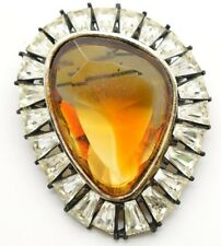 Vintage 1960s HAR Givre Citrine Tapered Baguette Clear Rhinestone Brooch Pin