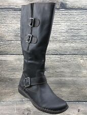 Born Womens Boots Tall Riding Black Buckle Side Zip 7 M