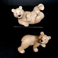 Fountasia Sculptures Brown Bear Cub Set Cute Wild Animal Carved Stone