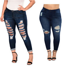 212652a3120 Women Plus Size Denim Skinny Jeans Pants Ripped Stretch Slim High Waist  Trousers