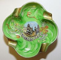 Hand Painted Porcelain Ashtray Chinatown San Francisco Mid Century Green EUC