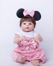 "22"" Full Silicone Reborn Baby Girl Repainted Newborn Baby Toddler Toy Waterproof"