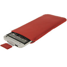 Red Leather Pull Tab Pouch for HTC One M7 Android Phone Case Cover Holder 1