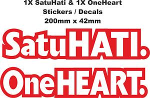 Satu HATI & One HEART Decals / Stickers (200mm x 42mm)