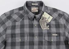 Men's LUCKY BRAND Gray Plaid Western Shirt Medium M NWT NEW Wow!