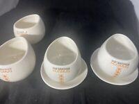 "4 Max Brenner HugMug ""Chocolate By The Bald Man"" Mugs: Ceramic 2 Saucers"