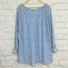 Kimchi Blue Small Tunic Blouse Floral Blue White Cutout Urban Outfitters Top