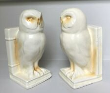 More details for art deco filled stylised pottery owl bookends book ends